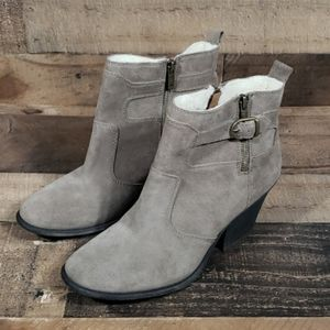 Lucky Brand Taupe Suede Shearling Cuff Booties 10